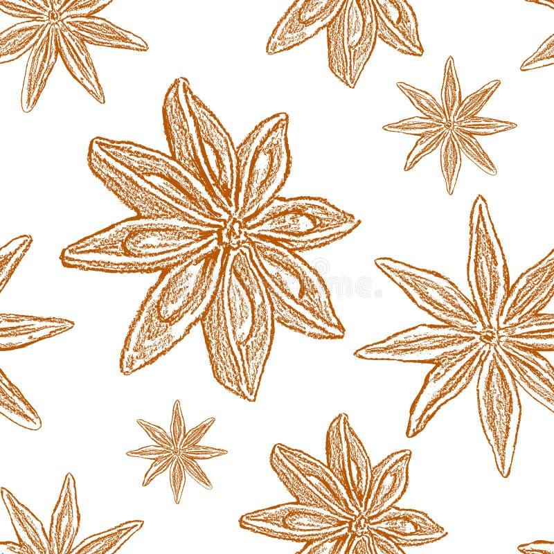 八角,在白色背景隔绝的badian例证,手拉的图表传染媒介剪影,无缝的样式,设计 皇族释放例证