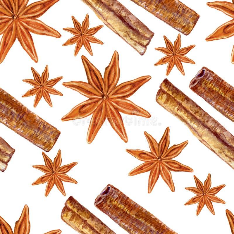 八角,桂香在白色背景隔绝的水彩例证, badian手拉的无缝的样式,设计食物, Organi 向量例证
