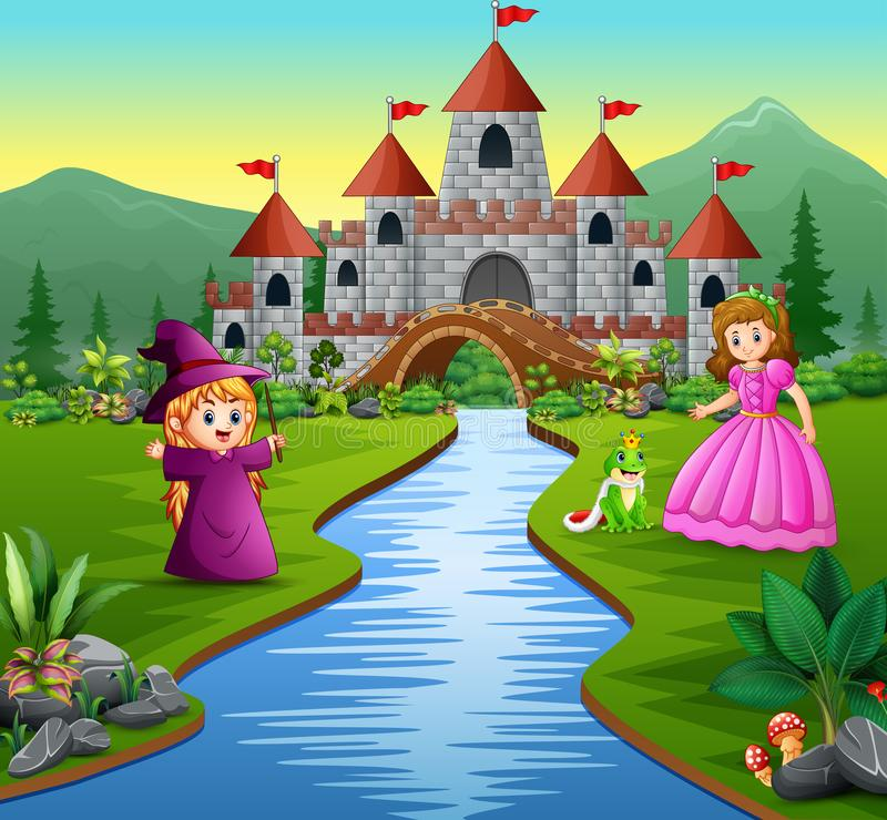 公主、小巫婆和一位青蛙王子在城堡背景中 向量例证
