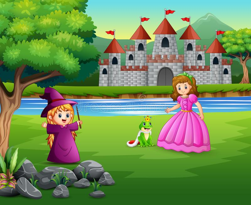 公主、小巫婆和一位青蛙王子自然的 库存例证