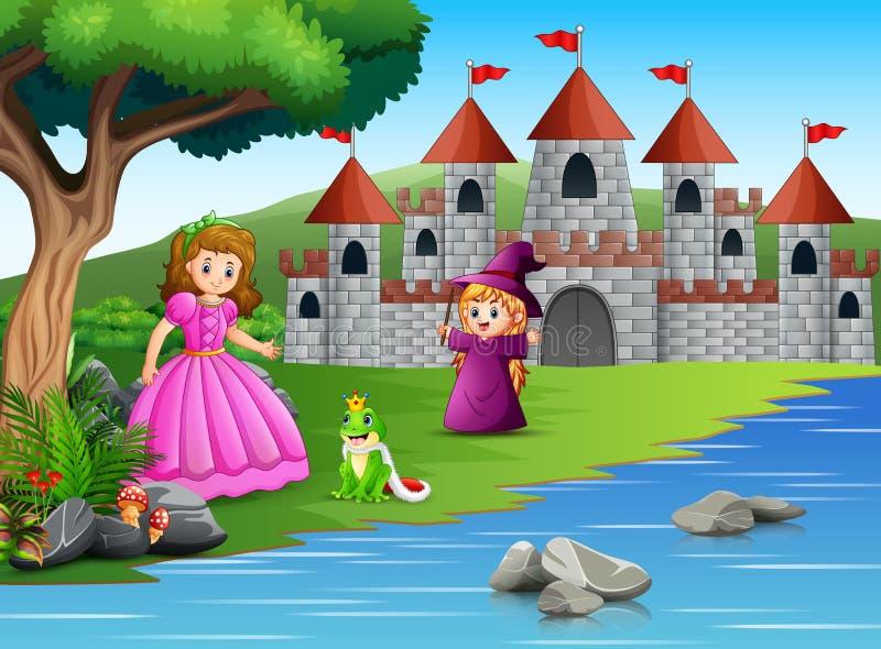 公主、小巫婆和一位青蛙王子自然的 向量例证