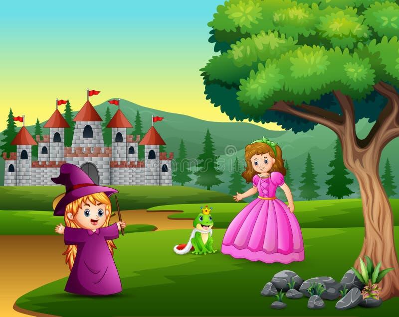公主、小巫婆和一位青蛙王子路的 皇族释放例证