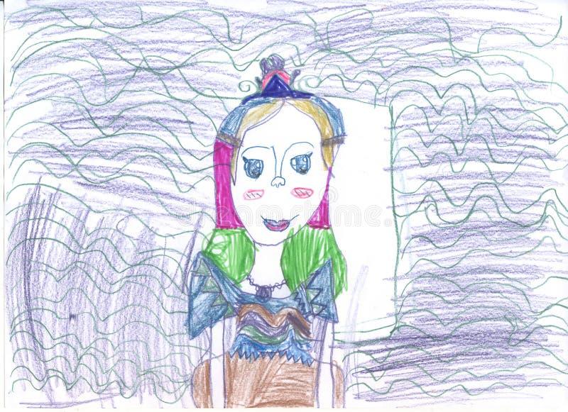 公主女孩的画象,画在铅笔 图片由6岁的孩子写 库存例证