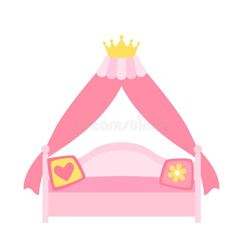 公主或一位神仙的女王/王后的一张桃红色有四根帐杆的卧床床 在白色背景隔绝的平的传染媒介例证 库存例证