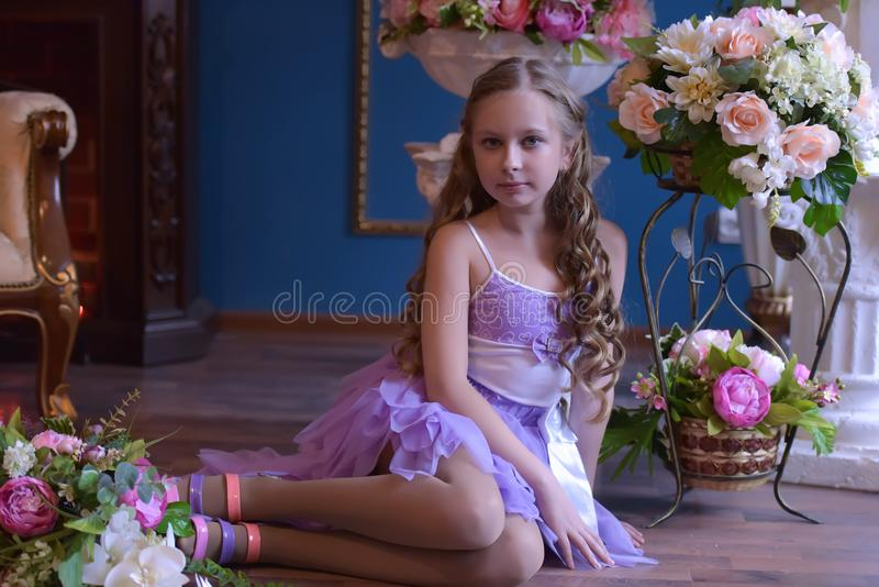 公主礼服的逗人喜爱的小女孩 免版税库存照片