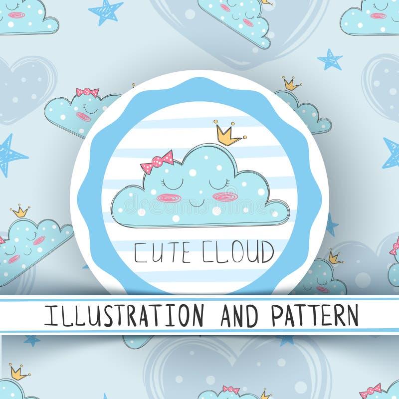 公主逗人喜爱的云彩-无缝的样式 向量例证