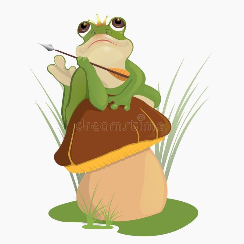 公主青蛙坐蘑菇 库存例证