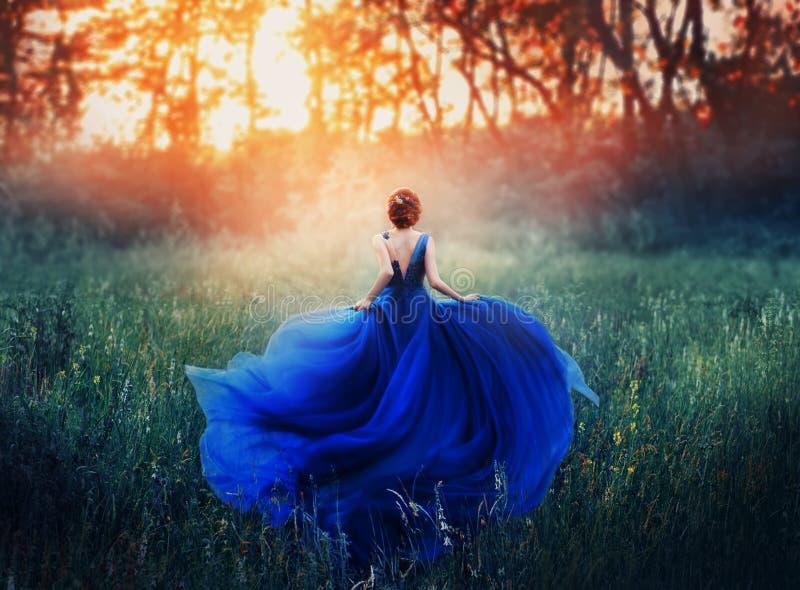 公主,有一种典雅的发型的,奔跑通过遇见与阴霾的火热的日落的森林草甸 豪华蓝色 免版税库存图片