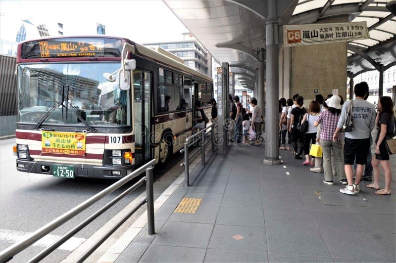 公交车站在东京 免版税图库摄影
