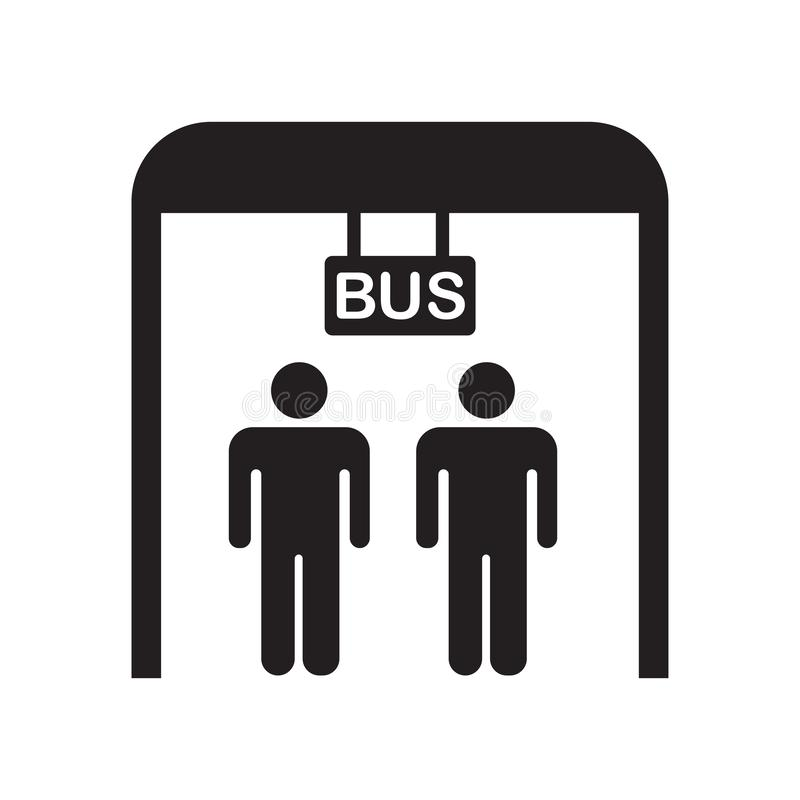 公交车站象在白色背景和标志隔绝的传染媒介标志,公交车站商标概念 向量例证