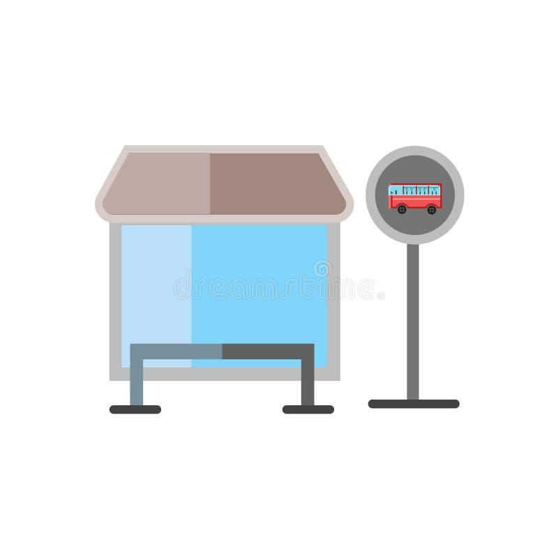 公交车站象在白色背景和标志隔绝的传染媒介标志,公交车站商标概念 皇族释放例证