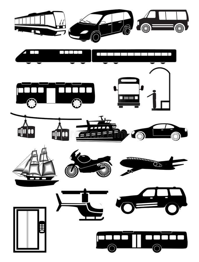 公共交通工具被设置的车象 向量例证
