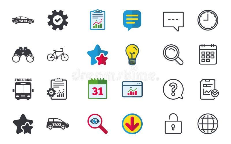 公共交通工具象 自由公共汽车,自行车标志 向量例证