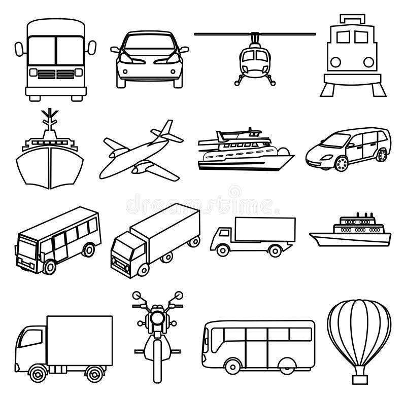 公共交通工具车线被设置的象 库存例证
