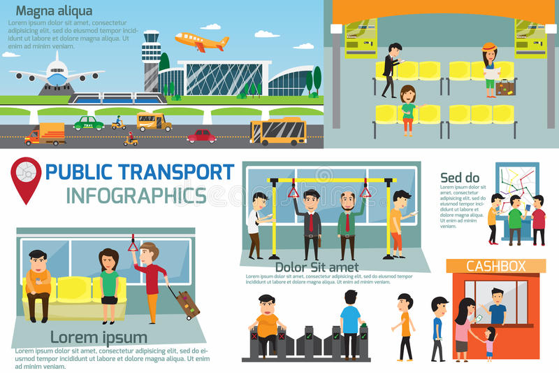 公共交通工具infographics 公共交通细节  向量例证