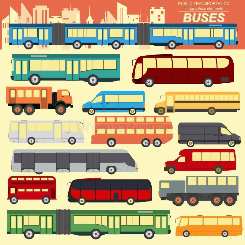 公共交通,公共汽车 设置元素infographics 皇族释放例证