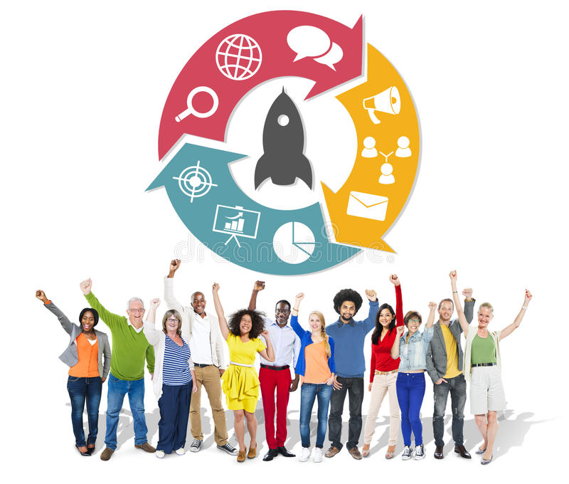 公共企业队合作合作支持Concep 免版税库存照片