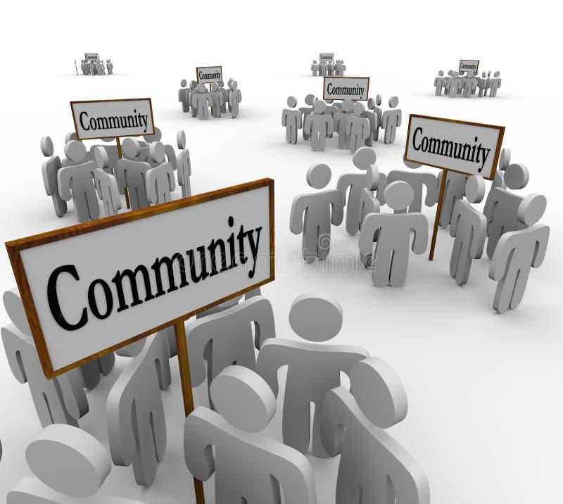 公共在标志社会友谊邻居附近的人小组 向量例证