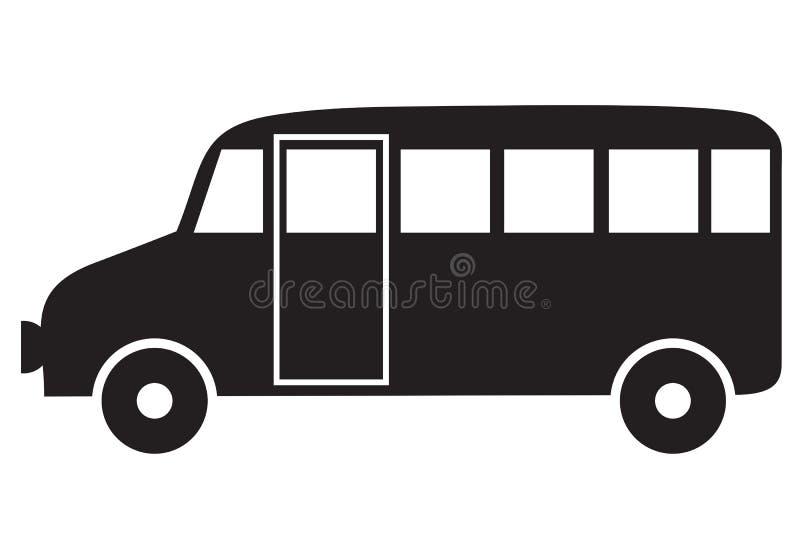 公共汽车剪影 向量例证