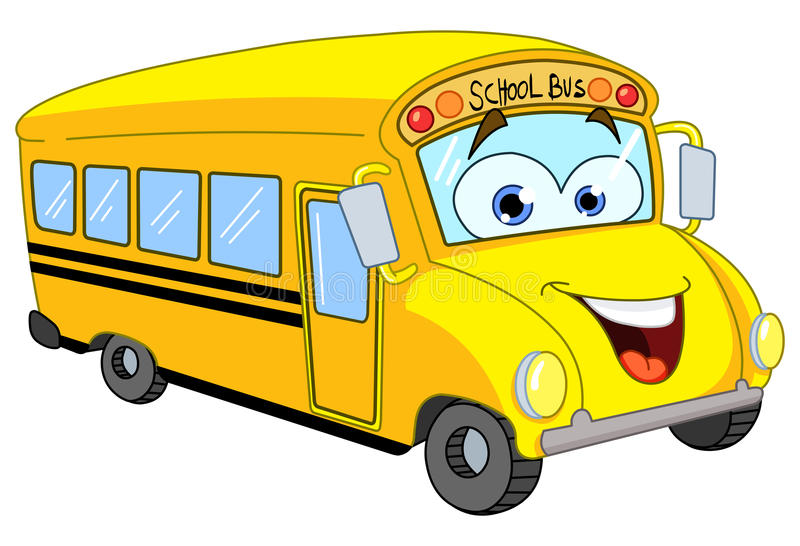 公共汽车动画片学校 向量例证