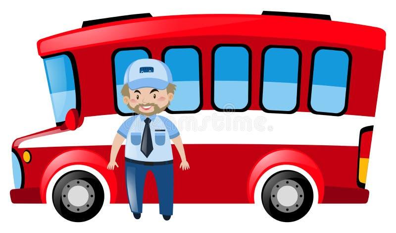 公共汽车司机和红色公共汽车 皇族释放例证