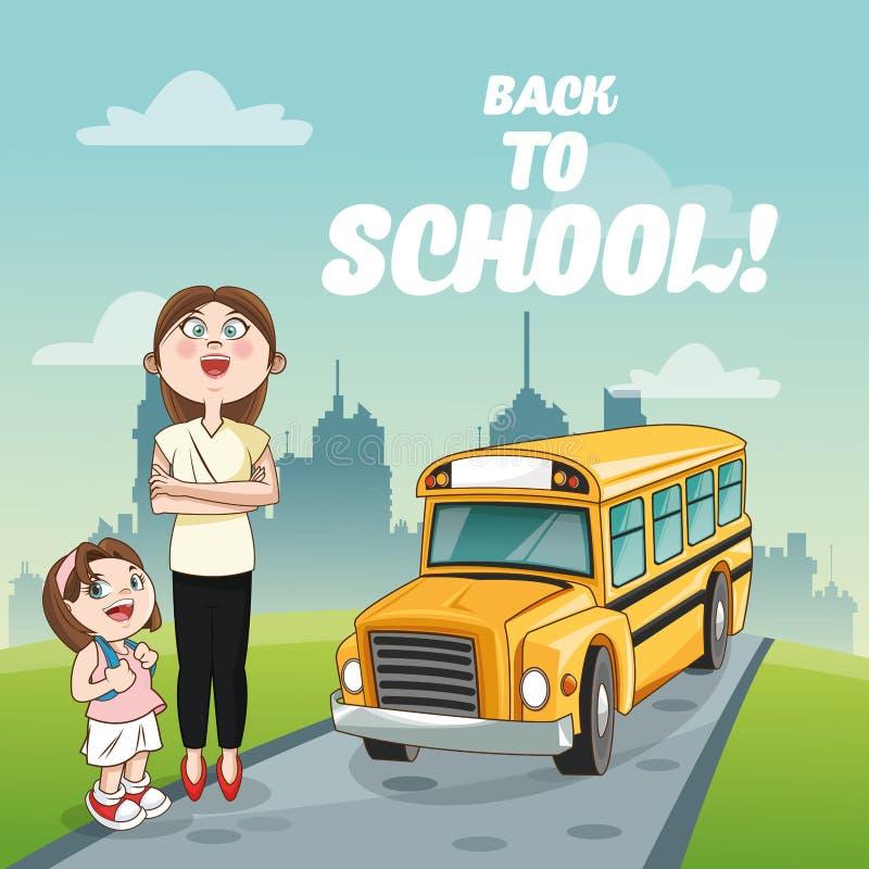 公共汽车回到学校设计的女孩老师 库存例证