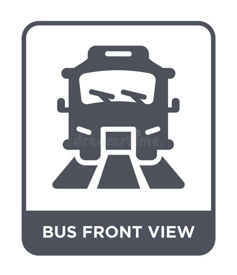 公共汽车在时髦设计样式的正面图象 公共汽车在白色背景隔绝的正面图象 公共汽车正面图简单传染媒介的象 向量例证