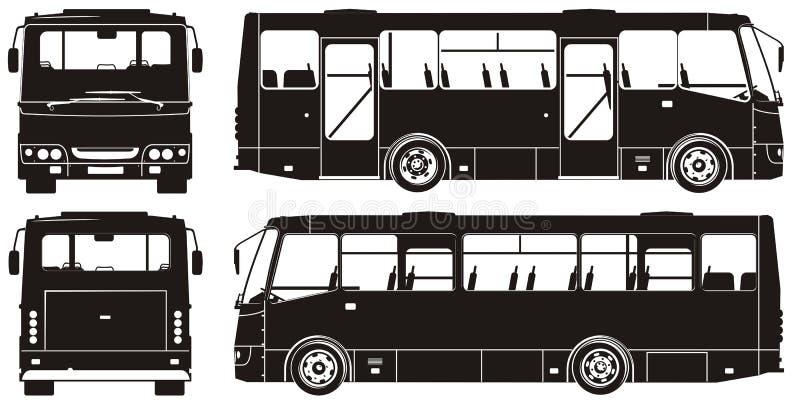 公共汽车城市现出轮廓向量 皇族释放例证