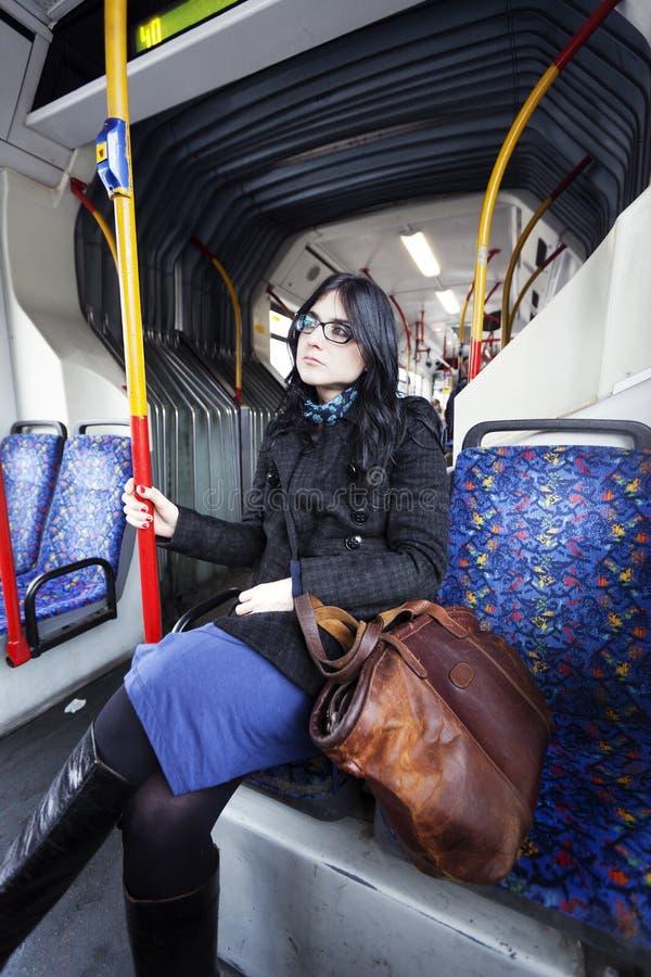 公共汽车妇女 库存照片