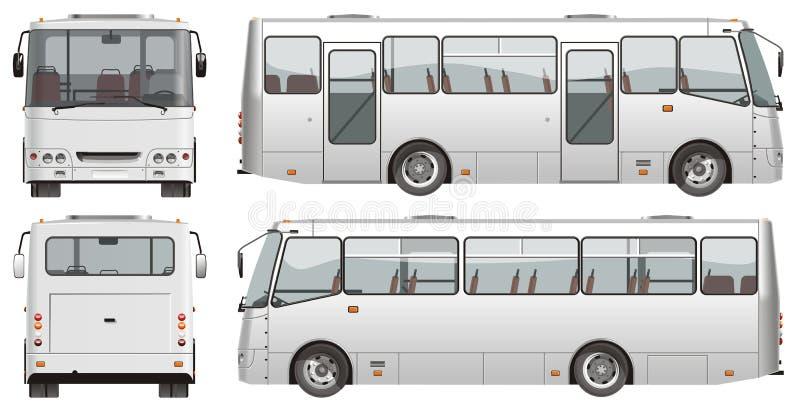公共汽车微型乘客都市向量 向量例证