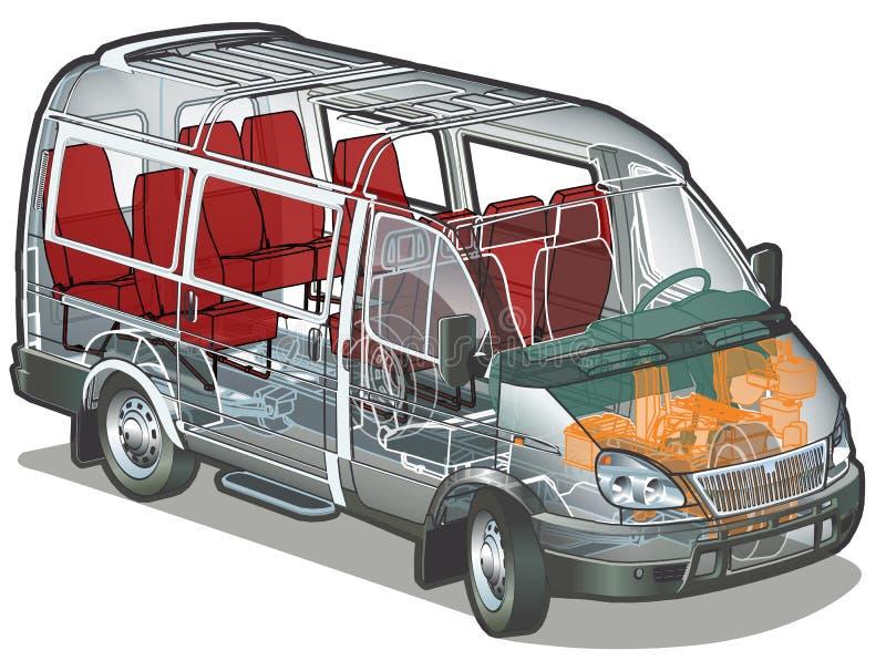 公共汽车微型向量 库存例证