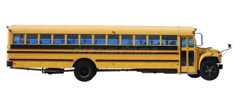 公共汽车查出在学校白色 库存图片