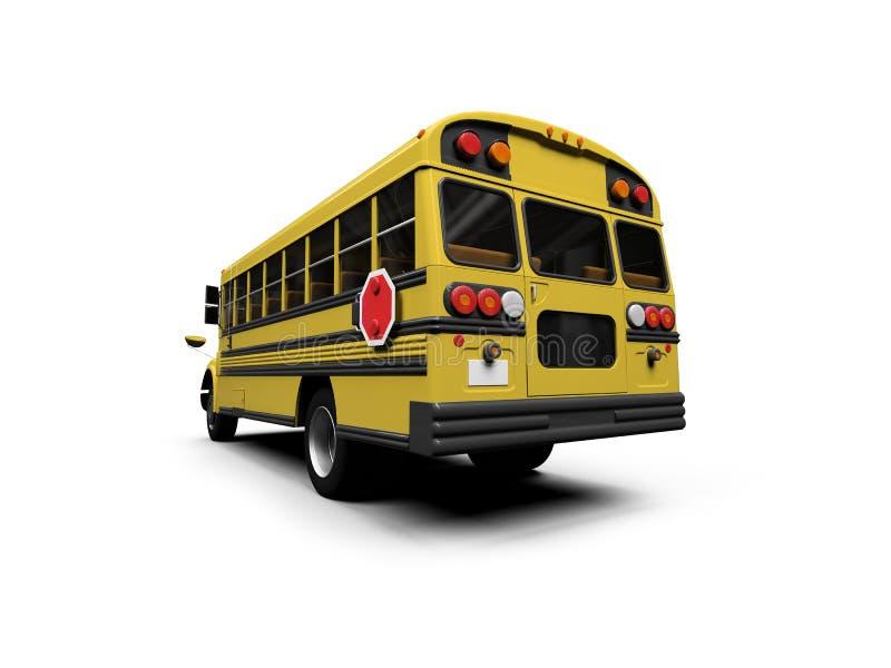 公共汽车查出在学校空白黄色 向量例证