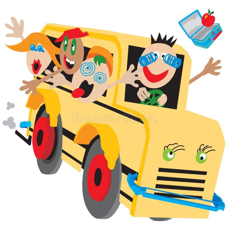 公共汽车疯狂的学校 皇族释放例证