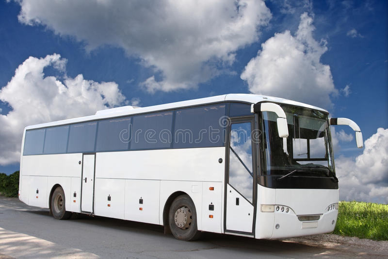 公共汽车白色 免版税库存图片