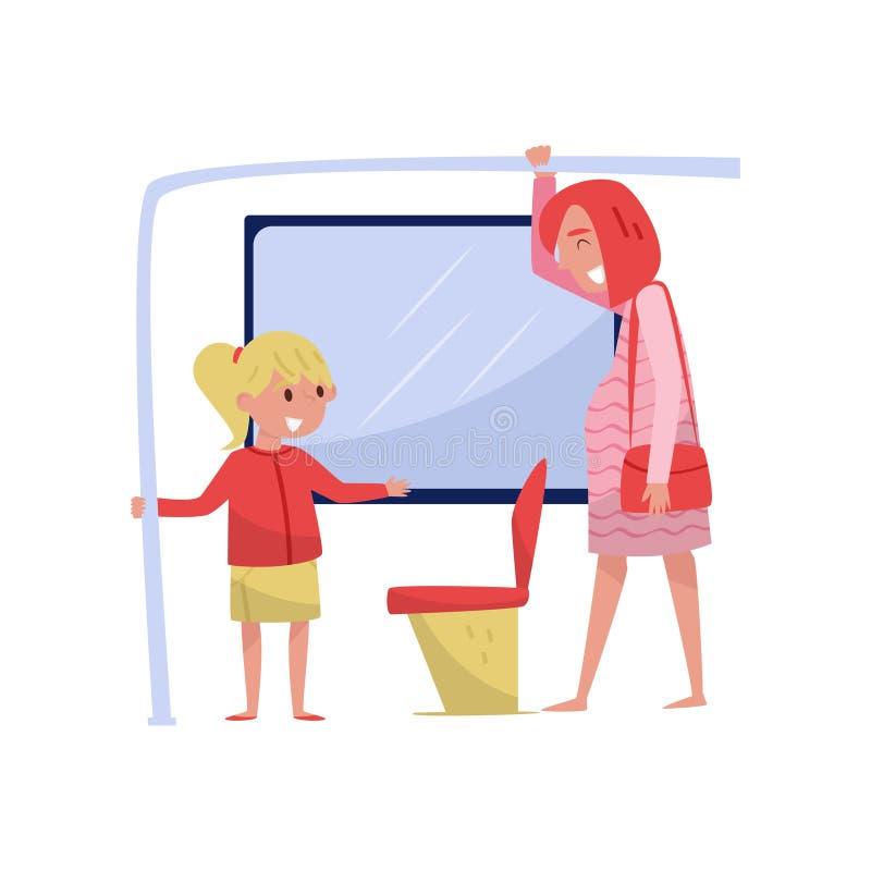 公共汽车的逗人喜爱的小女孩给年轻孕妇让路位子 有有礼貌的孩子 平的传染媒介设计 向量例证