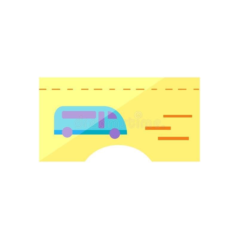 公共汽车票象在白色backgro和标志隔绝的传染媒介标志 库存例证