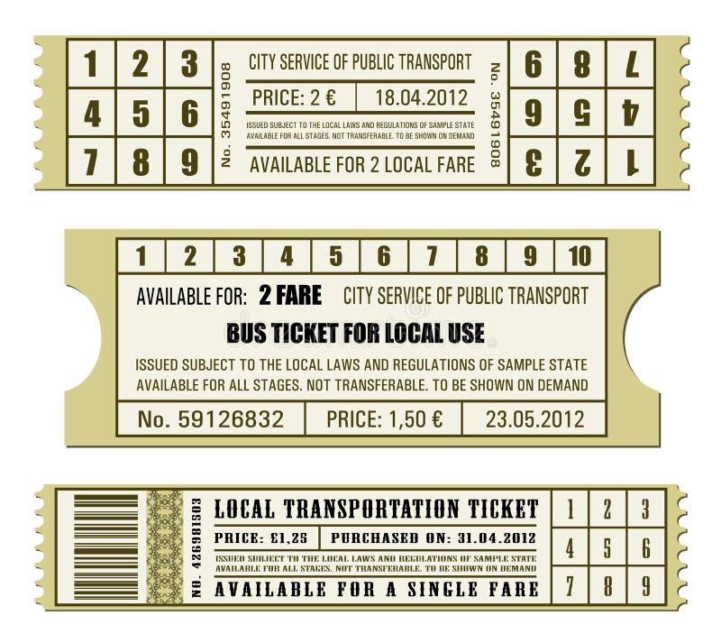 公共汽车票集合 皇族释放例证