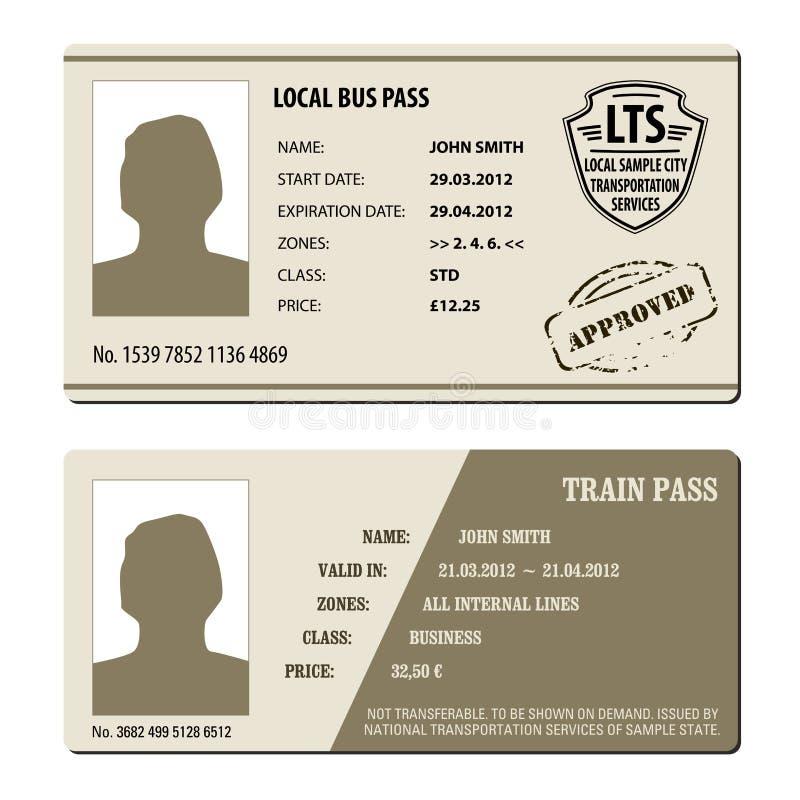 公共汽车票集合 向量例证