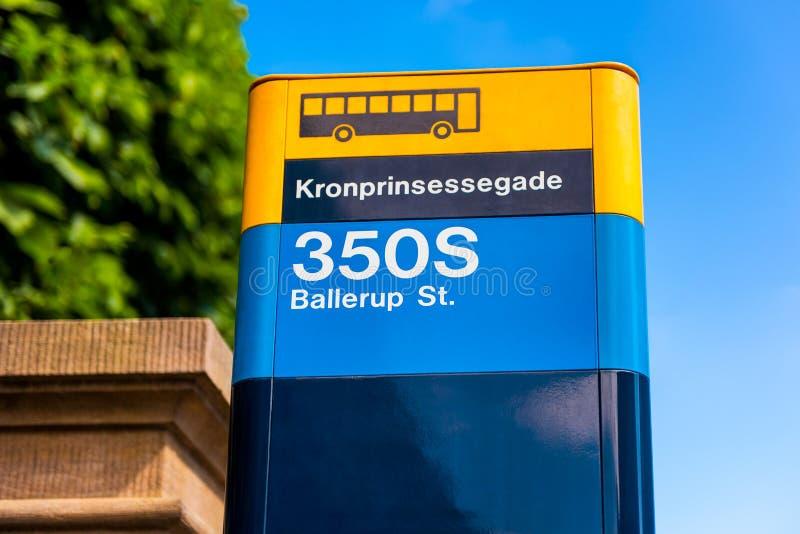 公共汽车站在哥本哈根丹麦 免版税库存照片