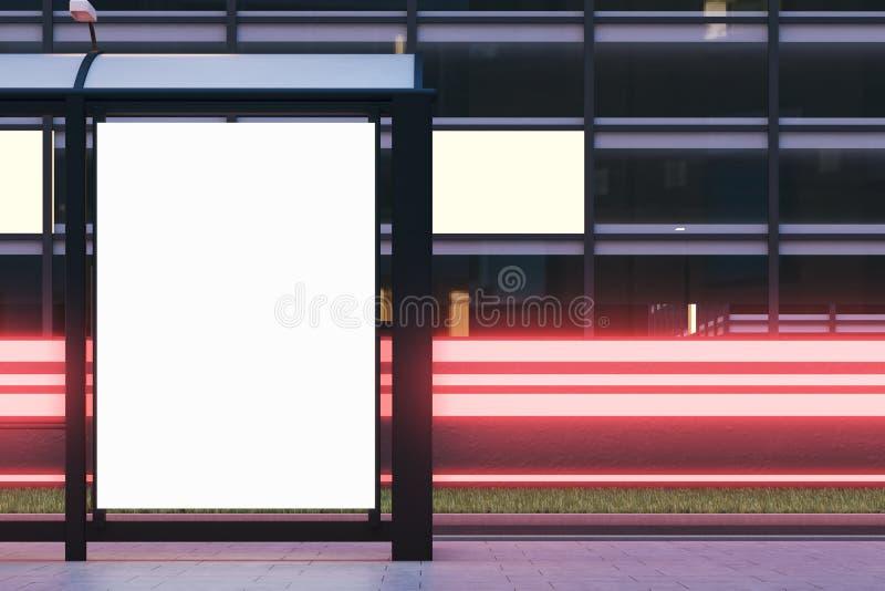 公共汽车站广告牌,关闭 皇族释放例证