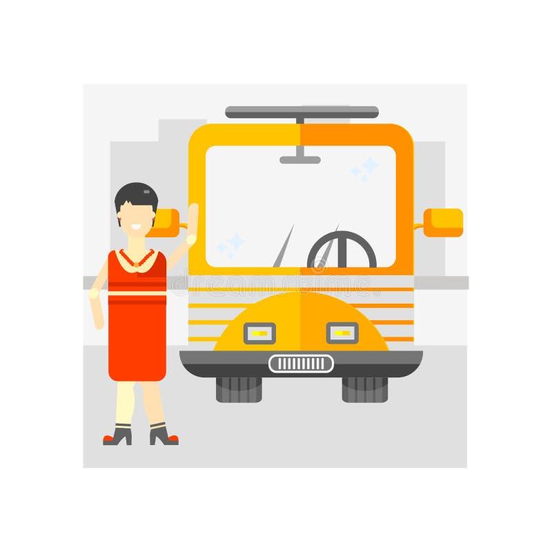 公共汽车站象在白色backgroun和标志隔绝的传染媒介标志 皇族释放例证
