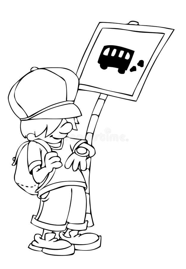 公共汽车等待 皇族释放例证