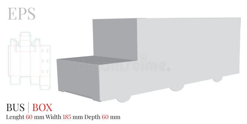 公共汽车箱子模板,与冲切/激光的传染媒介削减了层数 白色,清楚,空白,被隔绝的纸公共汽车嘲笑在白色背景 皇族释放例证