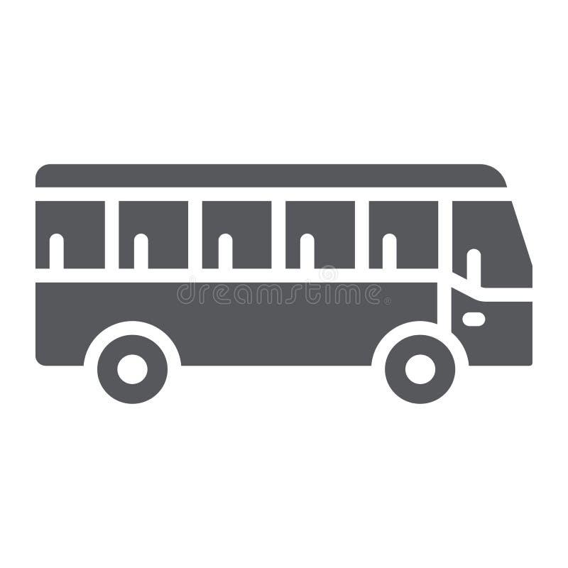 公共汽车纵的沟纹象、运输和运输,交通标志,向量图形,在白色背景的一个坚实样式 库存例证