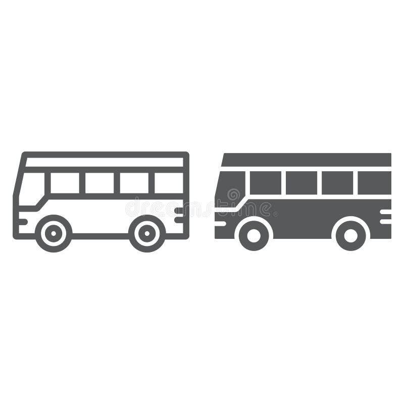 公共汽车线路和纵的沟纹象、交通和公众,车标志,向量图形,在白色背景的一个线性样式 皇族释放例证
