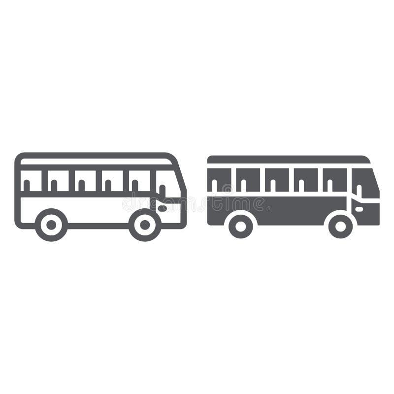 公共汽车线路和纵的沟纹象、运输和运输,交通标志,向量图形,在白色的一个线性样式 皇族释放例证