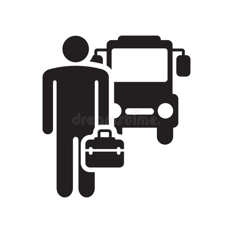 公共汽车象在白色背景和标志隔绝的传染媒介标志,公共汽车商标概念象 库存例证