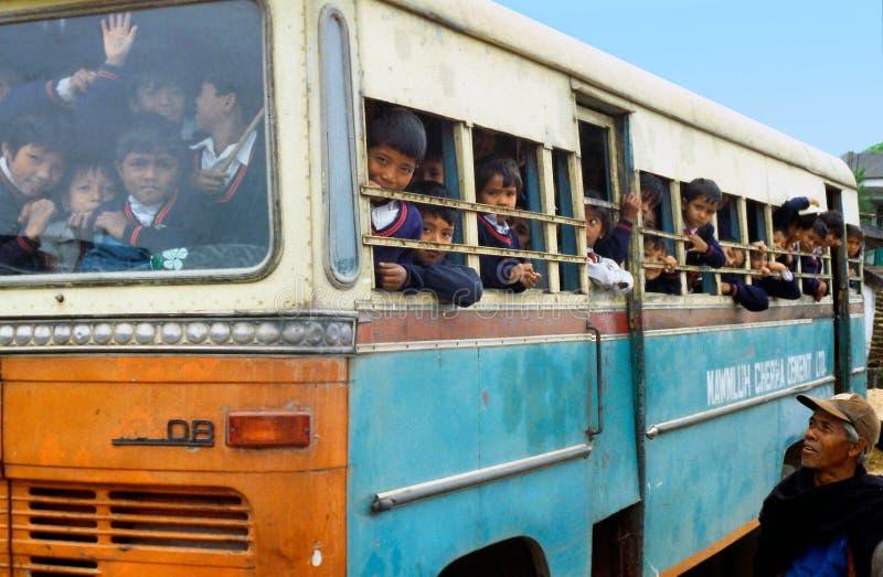 公共汽车过度拥挤的学校 库存照片