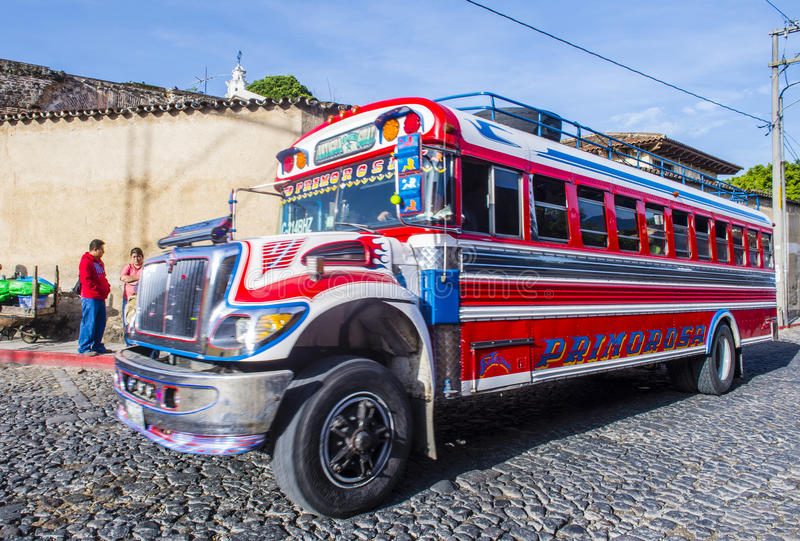 公共汽车鸡危地马拉人 免版税库存照片